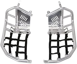 Tusk Foot Peg Nerf Bars With Heel Guards Silver With Black Webbing -Fits: Honda TRX 450R 2004-2009