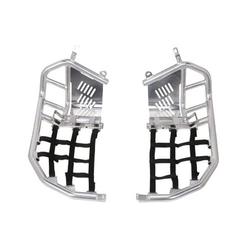 Tusk Foot Peg Nerf Bars With Heel Guards Silver With Black Webbing - Fits: Yamaha
