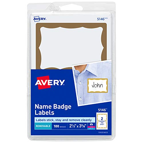 Avery Personalized Name Tags, Print or Write, Gold Border, 2-11/32' x 3-3/8', 100 Adhesive Tags (5146)