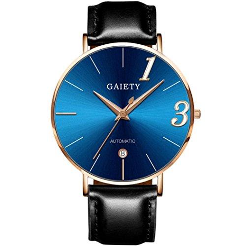 Hansee Paar Uhr, Mode Paar Uhr Lederband Linie Analog Quarz Damen Armbanduhren Geschenk, Runde komplette Kalender Edelstahl Uhr, (Herren, Blau)