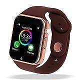 Sazooy Reloj inteligente con Bluetooth, pantalla táctil, reloj inteligente de pulsera, reloj inteligente con rastreador de actividad física, con ranura para tarjeta SIM, cámara con podómetro, compatible con iOS iPhone Android Samsung para hombres y mujeres (dorado)