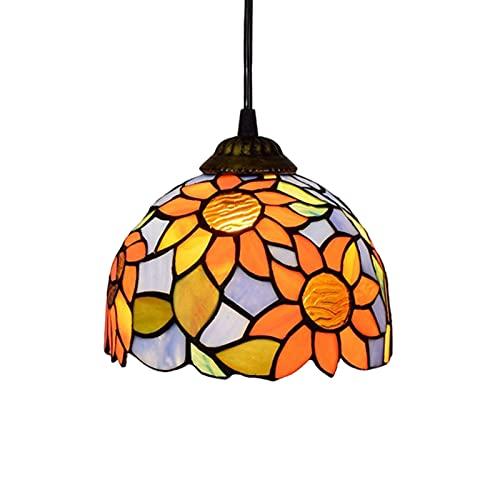 JZDHAOANHE Tiffany Colgante de Luz, Girasol Colgante Lámpara Colgante de Vidrio Redondo Pastoral Rústico Vitral Decoración Iluminación de Techo,Style b