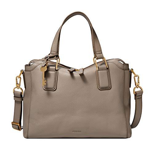 Fossil Women's Jacqueline Leather Satchel Purse Handbag, Graystone