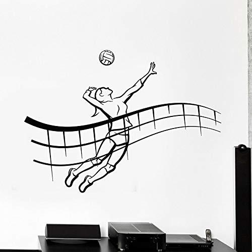 WERWN Calcomanía de Vinilo para Pared, Jugador de Voleibol, Pelota, Deportes de Playa, Pegatina para Deportes al Aire Libre, decoración de Pared para Estadio, Mural