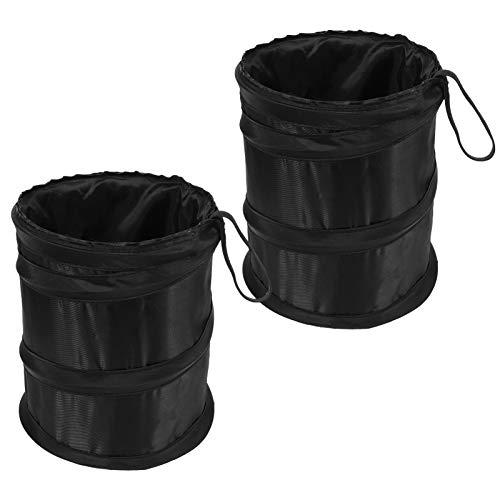 Xinzistar 2 PCS Car Rubbish Bin Foldable Car Trash Can, Leak-Proof Waterproof Portable Hanging Garbage Bin Car Storage Organizer Bag Waste Basket (Black)