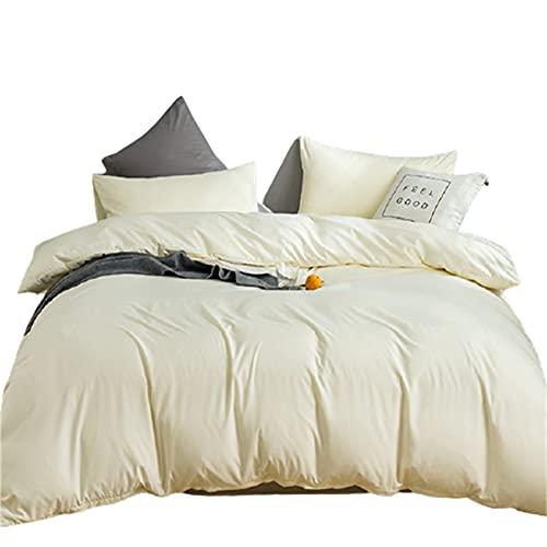 QQSM Ropa de cama de tres piezas de cuatro piezas, funda de edredón y de desayuno, monocolor, lavable a máquina de 1,8 m, juego de 4 piezas, color amarillo