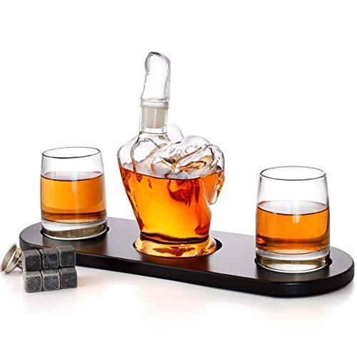 Juego de whisky con forma de dedo medio, 2 licor, vasos, regalo para hombre, piedras de whisky de enfriamiento y embudo para ron, whisky escocés bourbon