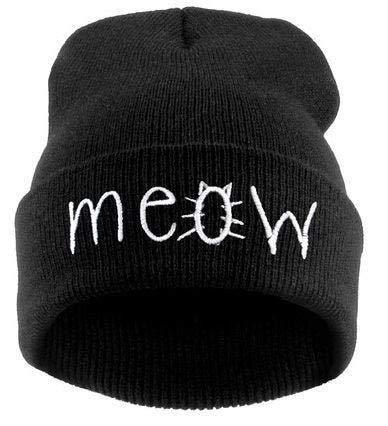 WABBMZ Wintermütze Stickerei MIAU Wintermütze Herren Caps Damen Beanies Warme Bonnet BlendsStrickmützeDamen BeaniesSchwarz Meow