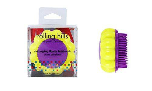 ROLLING HILLS - Detangling Flower Brush Yellow-Purple