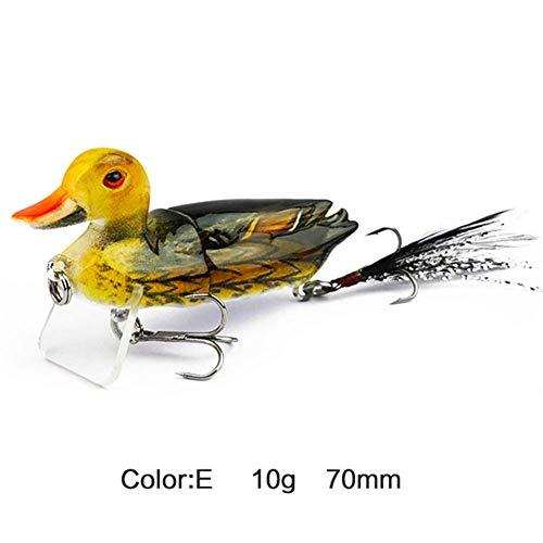 Guajave 3D Suicide Flotante Pato Bass Muskie Lucio Señuelo Pesca Cebo X5Y2 Accesorios - E
