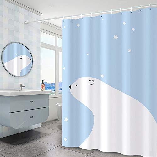 Lfives-hm Duschvorhänge Schöner Duschvorhang Liner Blau Eisbär Gedruckt Formbeweis schimmelbeständig Waschbar Duschvorhang for Kinderzimmer für Badezimmer Badewanne (Farbe : Blau, Größe : 150x180cm)
