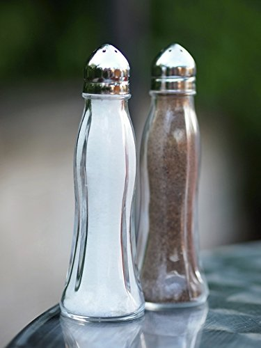 Pasabahce 80030 - Salz-/Pfefferstreuer-Set 2-teilig Salzstreuer Pfefferstreuer Black & White Edelstahl Glas spülmaschinengeeignet