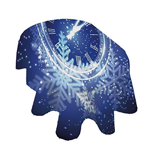 Angel Bags Reloj Decor Oval Mantel, cuenta atrás para Año Nuevo, diseño de luces navideñas y copos de nieve, mantel de poliéster, 152 x 300 cm, para fiestas, bodas, primavera, verano, azul