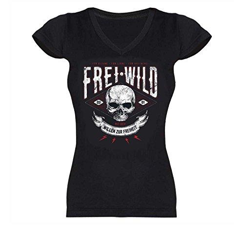 Frei.Wild - Willen zur Freiheit Girl V-Neck, Farbe: Schwarz, Größe: M
