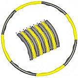大人のためのフーラフープ-エクササイズ、プレミアム品質、ソフトパディングフラフープ用の8セクションの取り外し可能なデザインの加重フラフープ、簡単にスピン (Yellow/Gray)