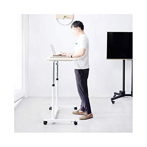 QWERTY Mobile Laptop Desk Movable Bedside Sofa Side End Table On Wheels, C Shaped Snack Laptop Workstation For Home Office Home Bedside Laptop Overbed Table (Color : Maple)