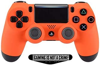 Soft Touch Orange Ps4 PRO Rapid Fire Custom Modded Controller 40 Mods for All Major Shooter Games, Auto Aim, Quick Scope, Auto Run, Sniper Breath, Jump Shot, Active Reload & More (CUH-ZCT2)