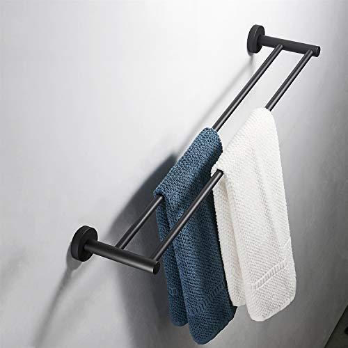 FZWAI Mate toalla de baño negro barra de acero inoxidable SUS 304 doble toallero estante colgante de hardware Aseo polo (Size : 50cm)