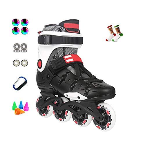 Sljj Sport D'extérieur en Salle Adulte Inline Skates, Fun Clignotant Débutant Patins À Roues Alignées for Garçons Filles Noir Blanc (Color : C, Size : 36 EU/4.5 US/3.5 UK/23cm JP)