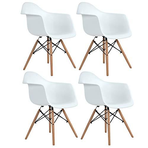 DORAFAIR Pack de 4 Sillón Tower Blanca Silla de Cocina/Comedor de Diseño Nórdico, Silla Escandinava Pata Madera de Haya, Blanco