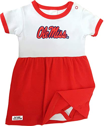 Future Tailgater Mississippi Ole Miss Rebels Onesie Baby Dress - Red (3-6 Months)
