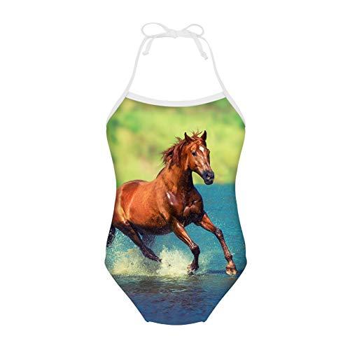 Nopersonality Mädchen Bademode Bikini Kinder Sonnenschutz Badeanzug Alter 3–8 Gr. 7-8 Jahre, pferd