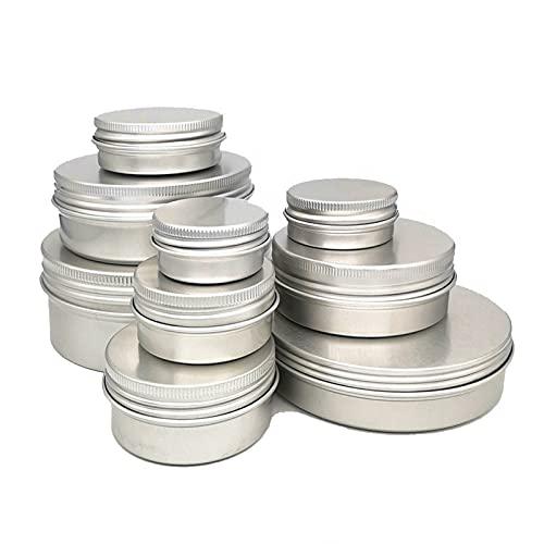 50 unids cosméticos contenedor de aluminio vela de aluminio estaño vacío plata metálica plateado con párpados bálsamo de bálsamo bálsamo tornillo caja de crema (Specifications : 40g-56mm by 22mm)