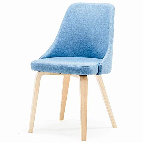 Zhenhe nórdico Silla de comedor minimalista moderna de madera maciza de pie Silla de Comedor café Negociación Silla Silla de ocio for sillas de cocina (Inicio Color: azul, tamaño: 83X42X45CM) Adecuado
