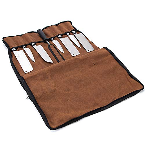 Chef's Knife Roll, Waxed Canvas Chef Knife Utensils Roll Up Bag, Professional Knife Storage Case, A Necessary Cooking Tools Gateway For Chef And Culinary Students,Year Around Protection Diamond Case