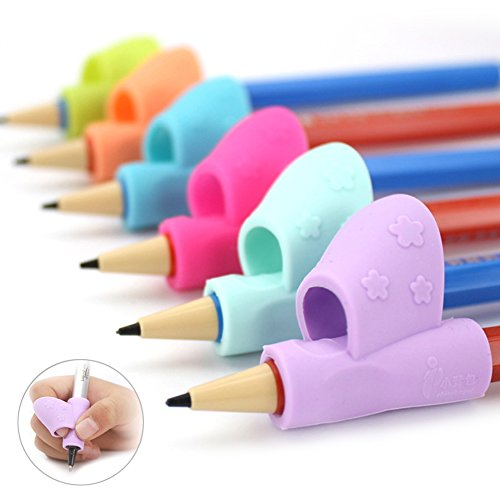 Children Pencil Grip Silicone Writing Aid Grip Posture Correction Tool By Rely2016 (12PCS, Rose Red + Orange + Purple)