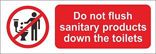 Etichetta - Sicurezza - Avvertenza - Non gettare i prodotti sanitari con il simbolo di sicurezza dei servizi igienici - adesivo autoadesivo 15x5 cm