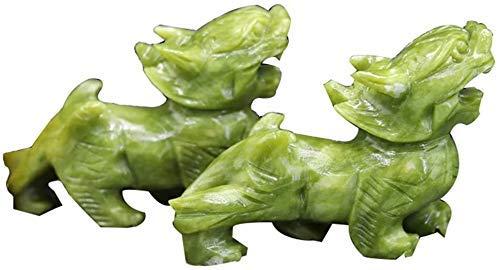 L.TSN Home Feng Shui Statue Una Coppia di Resina Verde Pixiu/Pi Yao Figurine Decor, Tradizioni Cinesi Artigianato Sculture Arredamento Feng Shui Attira ricchezza e buona Fortuna, Tre Dimensioni,