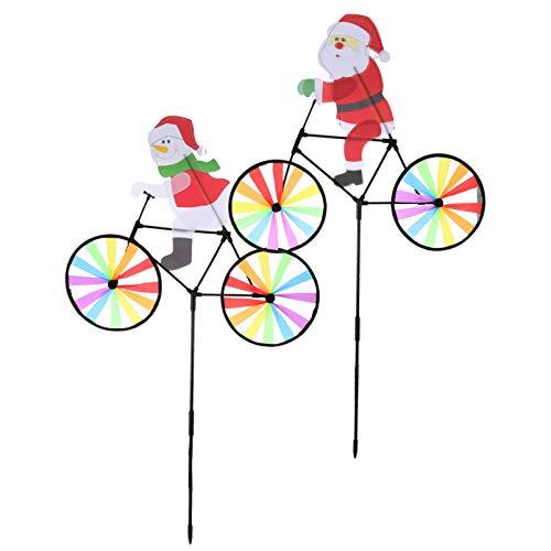 Hemoton 2 Stück Windspiel Windrad Weihnachtsrad Spinner Schneemann Santa Garden Spinner Rasen Windräder Windmühlen Wind Spinner für Weihnachten