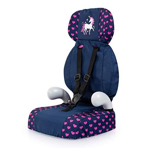 Bayer Design 67554AA Deluxe Puppen-Autositz, Puppensitz, Puppenzubehör, mit Gurt, blau mit Einhorn und Herzen