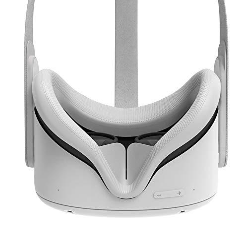 AMVR VR - Copriviso in silicone per Oculus Quest 2, a prova di sudore, impermeabile, anti-sporco, ricambio per cuscino facciale, accessori (grigio, 1 pezzo)