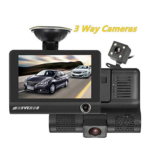 Price comparison product image Car Dash Cam Front and Inside Video Recorder Rear Camera Dual Dash Cam with 4 inch Reverse Full Screen Driving Recorder DVR HD 1080P Night Vision Parking Mode Seamless Recording