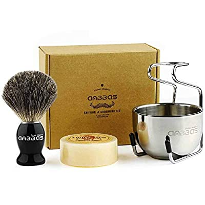 Shaving Brush Set,4in1 Anbbas Best Badger Bristles Shaving Brush Black Wood Handle and Goat Milk Soap,Stainless Steel Shaving Stand and Soap Cup Kit Perfect for Men Manual Shaving from Anbbas
