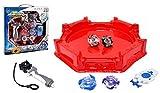 ZB Set de 4 peonza de batallas y Estadio de batallas, Lanzador de Mano de peonza Infinity Juguete con Lanzador de Mano Espada Juguete para niños