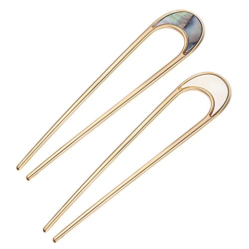 Lurrose 2pcs Hair Sticks Vintage Metal Hair Pins Moon Elegant Hair Chopsticks U Shaped Headdress Hair Styling Accessories for Woman Girls