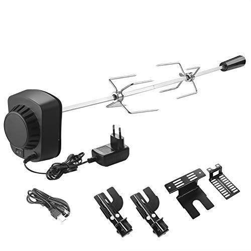 SHYOSUCCE Grillspieß Set mit 2 Fleischnadeln und Motor (USB Leitung oder Adapter Verbindung), Rotisserie Drehspieß für Kugelgrill, Holzkohlegrills, Gasgrills und Rotisserie(69-137cm)