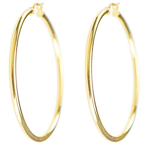 Ohrringe Creolen echtes Gold Gelb–Durchmesser 4,5cm–Damen