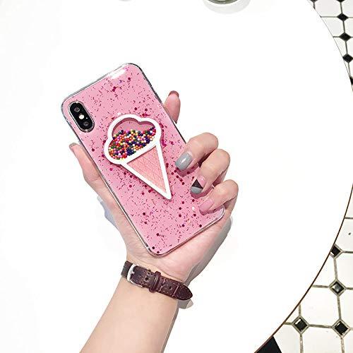 JINYIWEN telefoon geval voor iPhone Xs Max XR 6 6s 7 8 plus schattig Koreaanse ijs mobiele telefoon geval ins hete verkoop roze TPU glitter kleurrijke achterkant-voor iPhone Xb