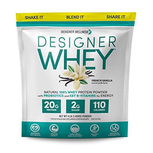 Designer Protein Whey Natural Protein Powder, French Vanilla, 4 Lb, Non GMO, No Artificial Flavors, Sweeteners, Colors, or Preservatives, 64 Oz