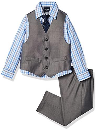 Nautica Little Boys 4-Piece Vest Set with Dress Shirt, Tie, Vest, and Pants, Light Grey, 6