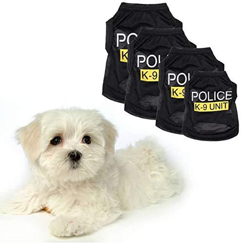 LikeGoods66 K-9 Unidad uniforme de policía policía/mujer policía pequeño perro gato cachorro Halloween policía ropa para mascotas disfraces vestir mascotas abrigo chaleco (XS)