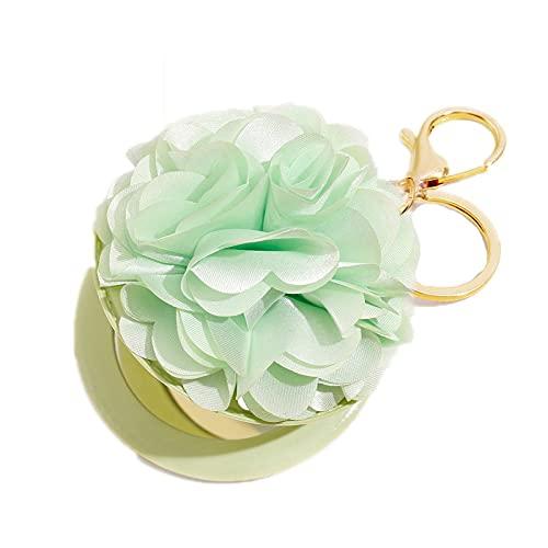 JKDFGJ Portátil PU espejo de maquillaje regalo llavero bola de pelo patrón de mariposa forma de flor llavero multifuncional