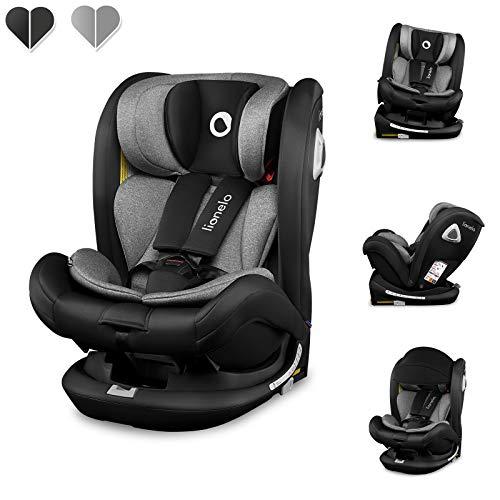 Lionelo Bastiaan RWF Kindersitz Isofix Kindersitz Drehbar um 360 Grad Top Tether ab Geburt bis 36 kg in und entgegen Fahrtrichtung erweiterter Seitenschutz Sitzverkleinerer (Schwarz)