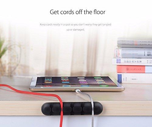 2 Pack BoomYou Desktop Kabelhalter 5 Kanal Kabel Management System Kabel Organizer Draht Speicher Silikon Ladegerät Kabel Clip für Netzkabel und Ladegerät Zubehör Kabel und Haus - schwarz