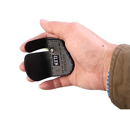 Bicaster - Protector de dedo para dedo con arco derecho, cuero genuino hecho para la tradición de caza o arco recurvo (pequeño)