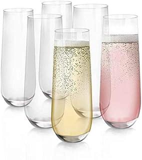 [6-Pack, 280ml/9.5 onces] Design·Master-Verres à flûte de Champagne sans Pied, Verres de Boisson sans Plomb, Verres à vin ...